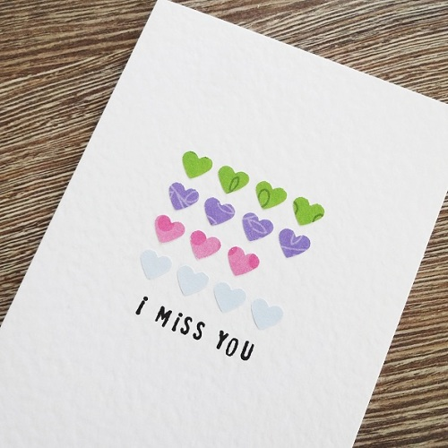 Miss you hearts card