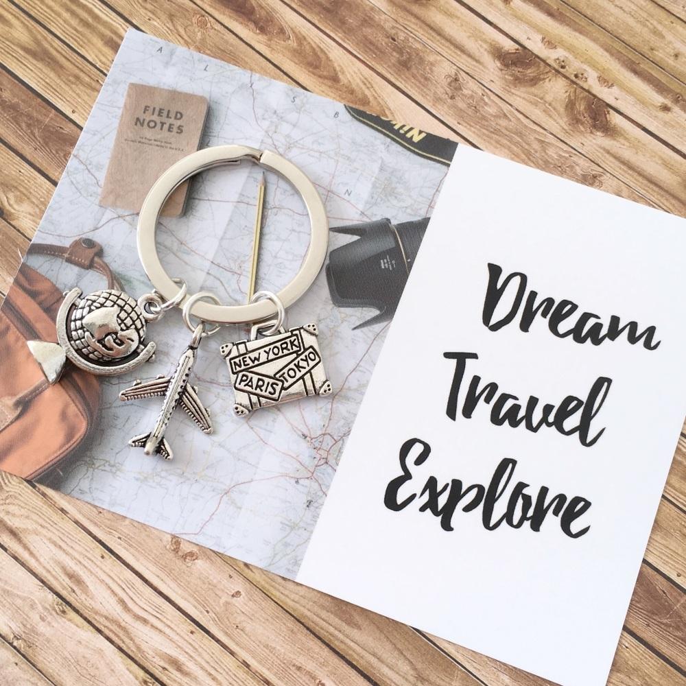 Dream, Travel, Explore keyring