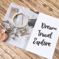 Dream, Travel, Explore Keyring