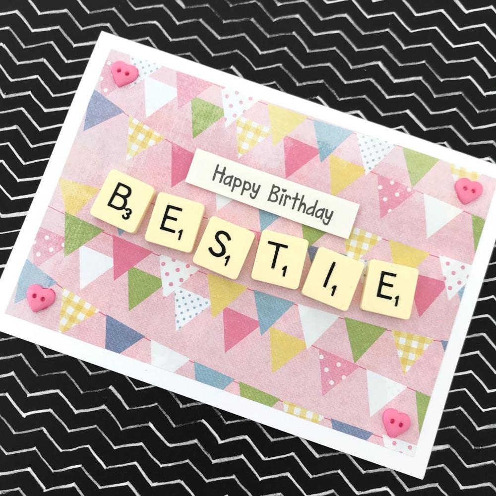 Scrabble letter auntie card