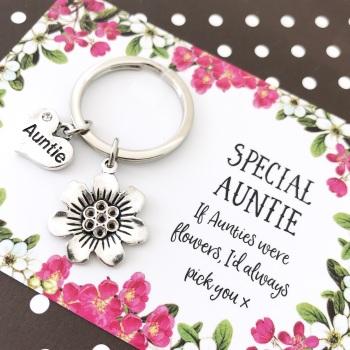 Auntie Flower Charm Keyring