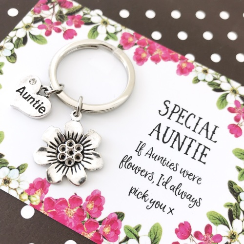 Auntie flower charm keyring
