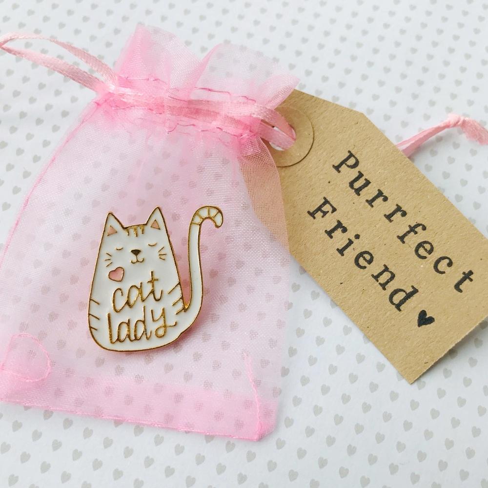 Cat lady friend pin