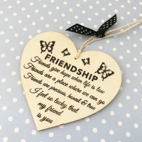 Friendship hanging heart gift