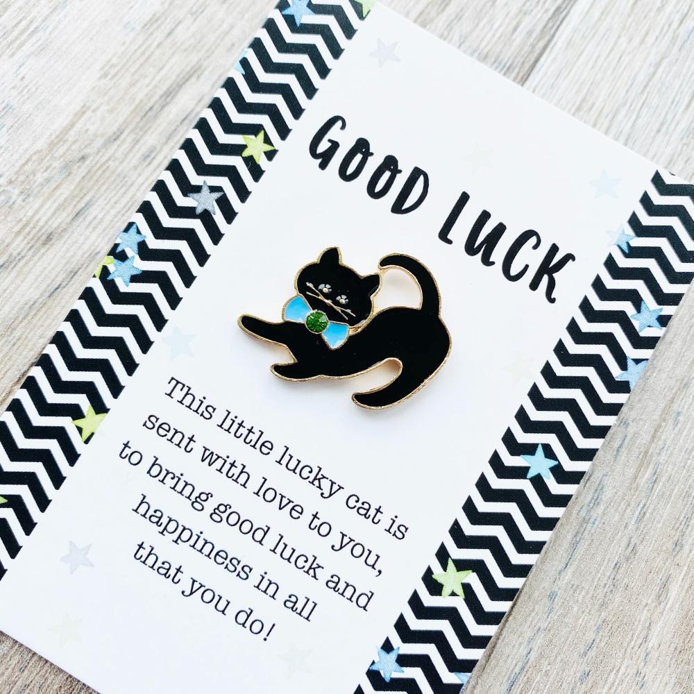 Good luck black cat pin