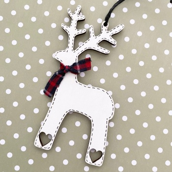 Personalised Wooden Reindeers - heart