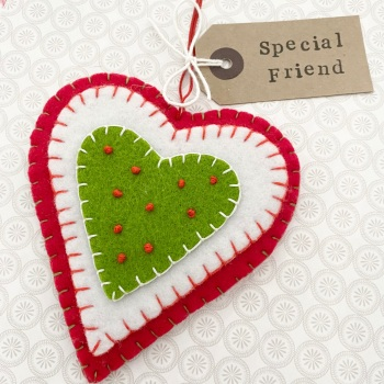 Felt Heart Friend Decoration