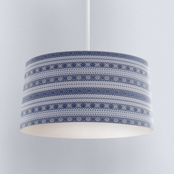 Granny's Fairisle - Lampshade Navy/Grey