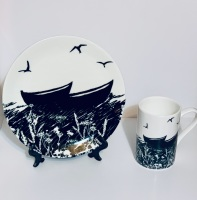 Da Banks Peerie Auld Boats - Bone China mug and plate