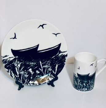 Bone China mug and plate - Peerie Fishing Boat