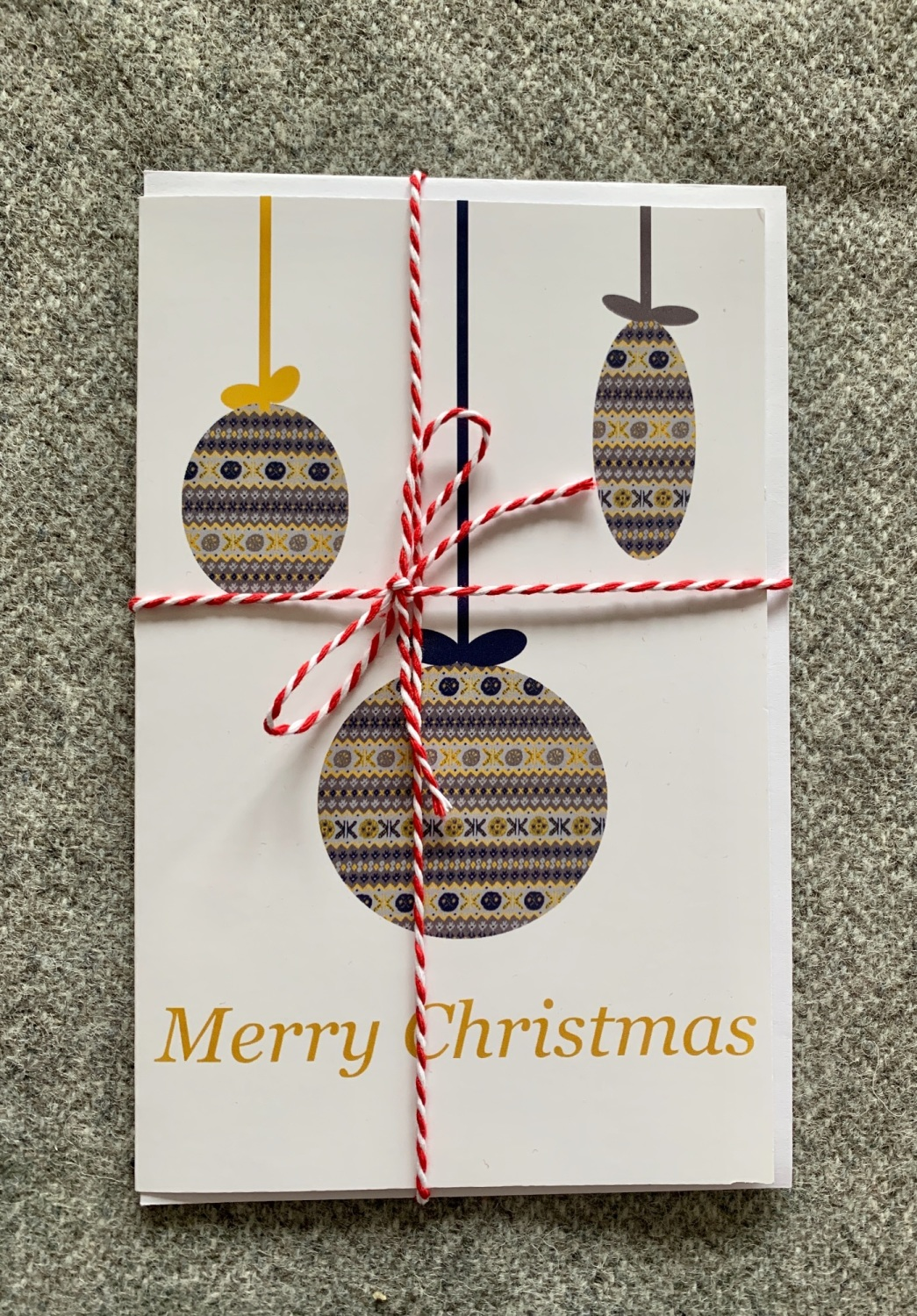 Fair Isle Christmas Bauble Card