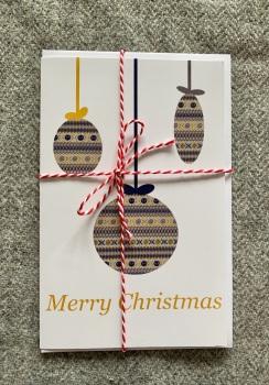 Fair Isle Christmas Bauble Card