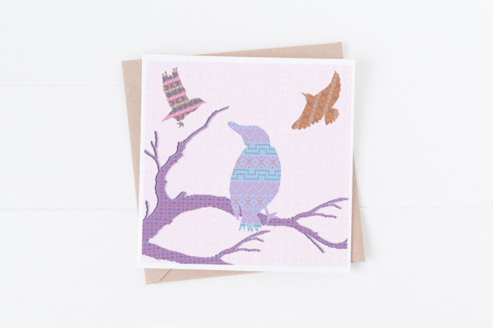 Blue Bird on Branch - Card