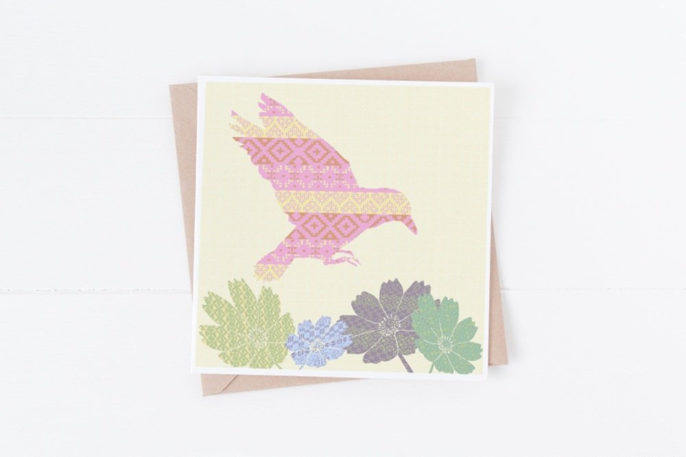 Pink Flying Bird - Card