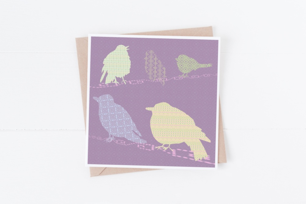 Purple Background Birds - Card
