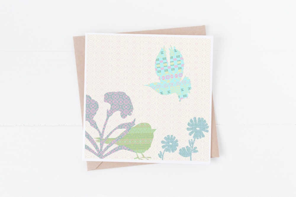 Turquoise Flying Bird - Card