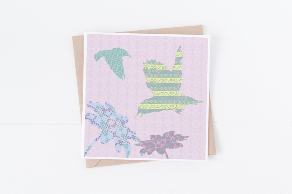 Yellow/Green Flying Bird - Card