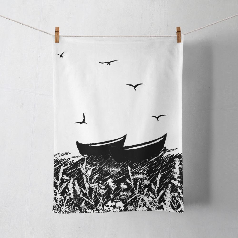 Da Banks Peerie Auld Fishing Boat - Tea towel