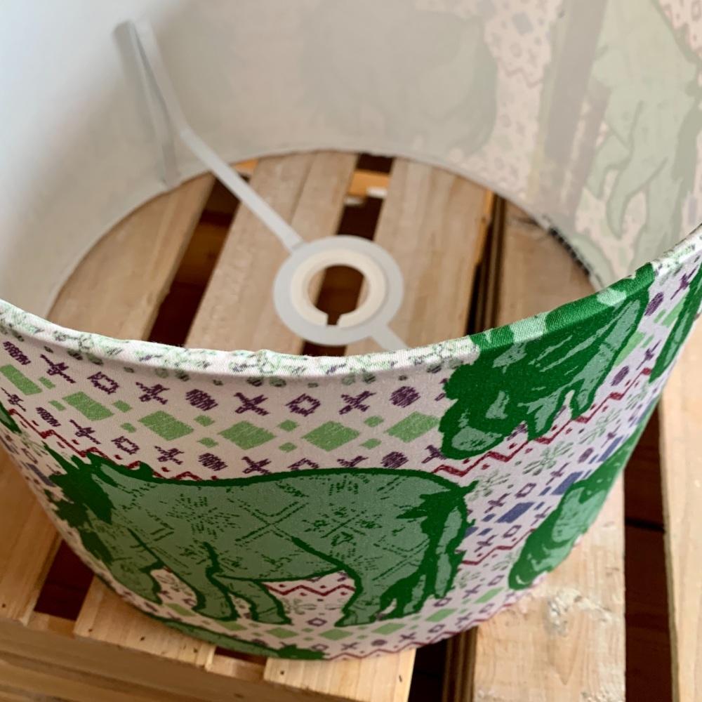 Fair Isle Shetland Ponies - Hand Made Lampshade 30cm Green