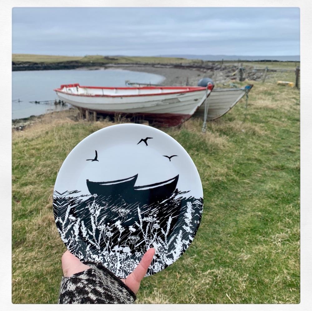 Da Banks Peerie Auld Boats - Bone China Plate
