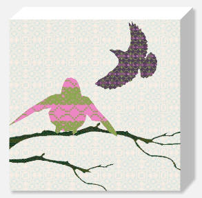 Shetland Starling Canvas - Pink/Green Bird