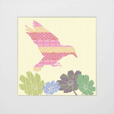 Shetland Starling Print - Pink Flying Bird