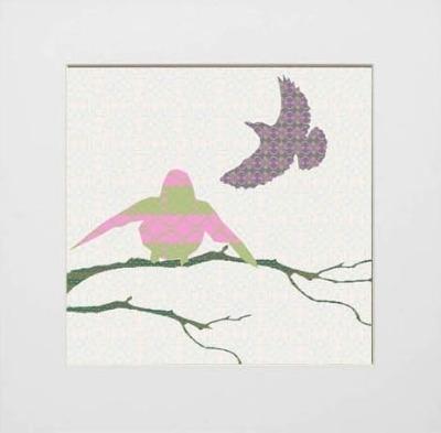Shetland Starling Prints - Pink/Green Bird
