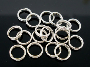 SILVER TONE - 8MM SPLITRINGS - PACK OF 100