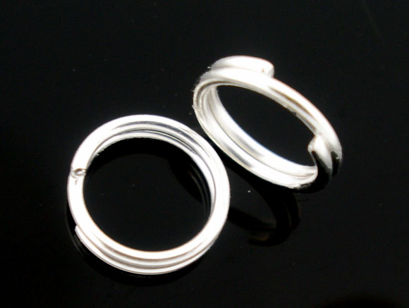 SILVER PLATED - 10MM SPLITRINGS - PACK OF 100