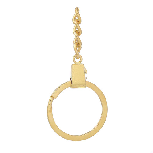 GOLD PLATED - SPLITRING WITH CHAIN - PACK OF 10