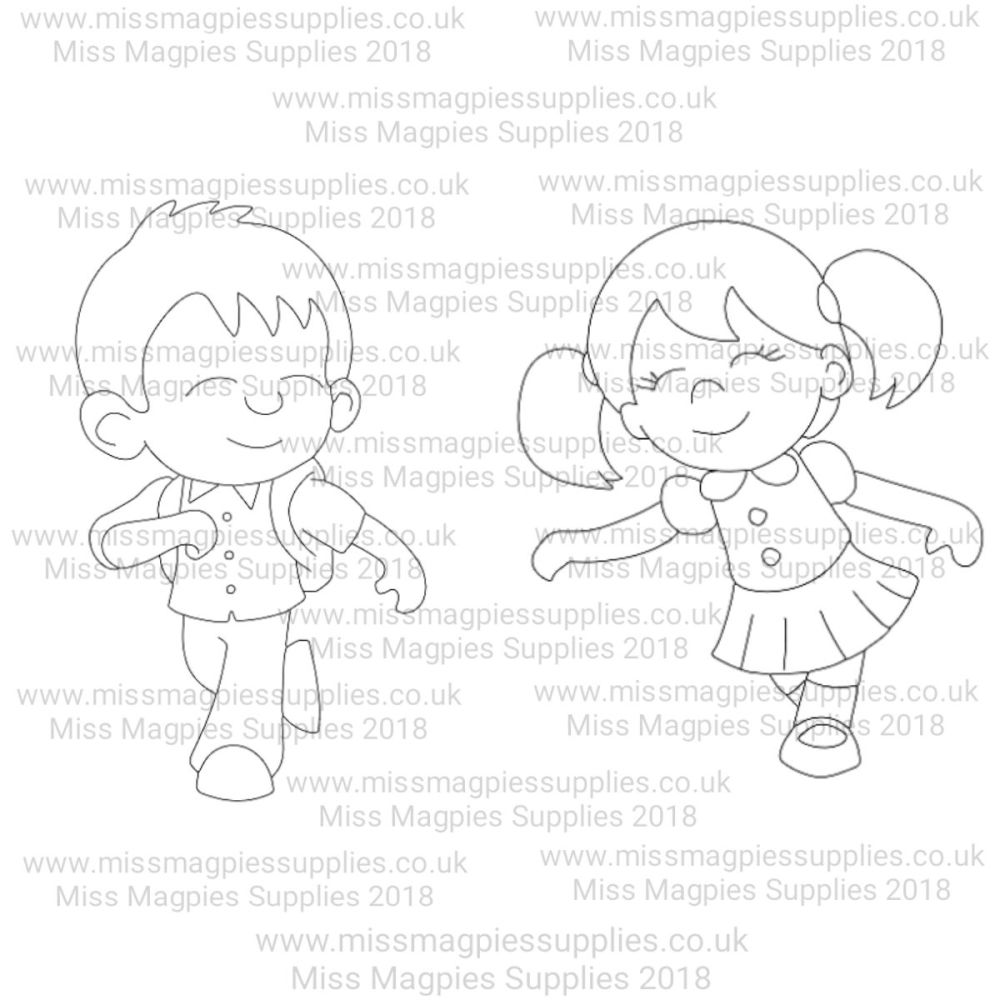 MMS DESIGN STAMP - SCHOOL BOY AND SCHOOL GIRL  (2 PIECE SET) - SELECT SIZE