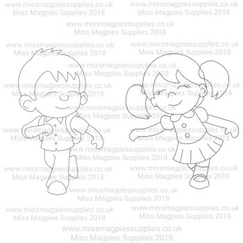 MMS DESIGN STAMP - SCHOOL BOY AND SCHOOL GIRL  (2 PIECE SET) - PLEASE SELECT SIZE