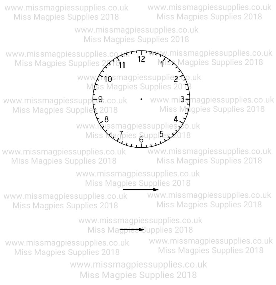MMS DESIGN STAMP - CLOCK FACE AND 2 HANDS (3 PIECE)  -  PLEASE SELECT SIZE