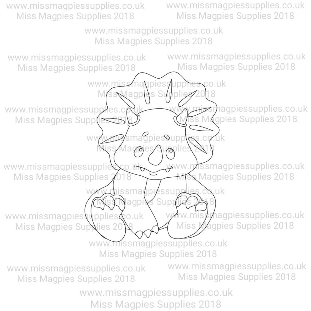 MMS DESIGN STAMP - BABY TRICERATOPS (SITTING) - PLEASE SELECT SIZE