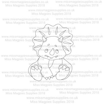DS072 - MMS DESIGN STAMP - BABY TRICERATOPS (SITTING) - PLEASE SELECT SIZE