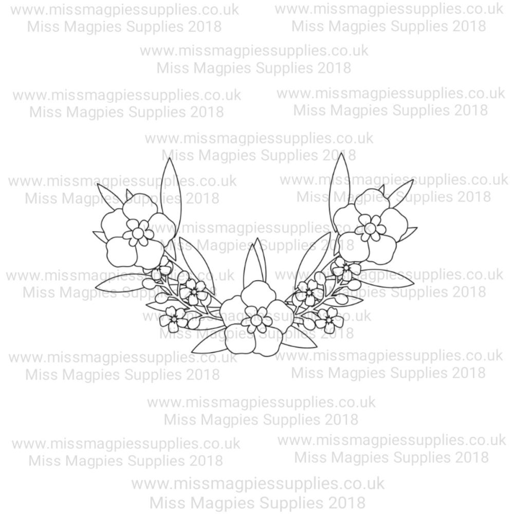 MMS DESIGN STAMP - FLORAL BORDER (HALF) -  PLEASE SELECT SIZE