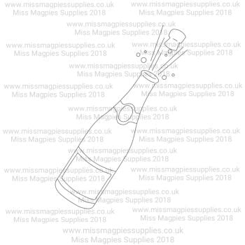 DS012 - MMS DESIGN STAMP - CHAMPAGNE WITH CORK - PLEASE SELECT SIZE