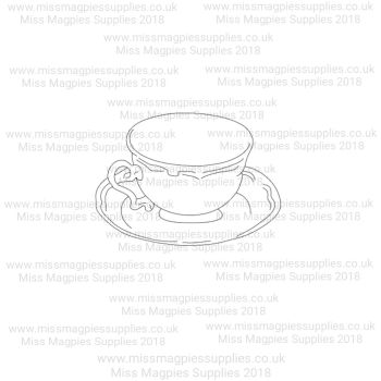 DS059 - MMS DESIGN STAMP - TEA CUP AND SAUCER -  PLEASE SELECT SIZE