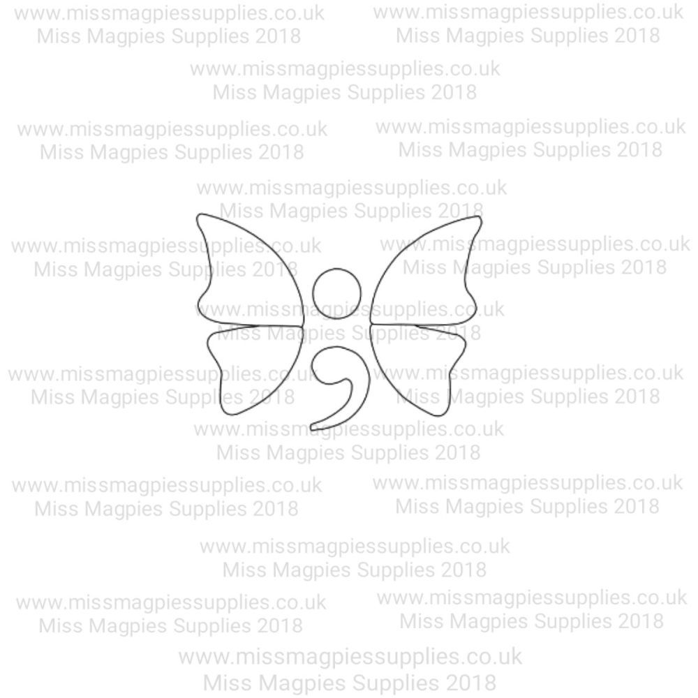 MMS DESIGN STAMP - SEMI COLON - BUTTERFLY - SELECT SIZE