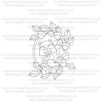 DS110 - MMS DESIGN STAMP - SQUIRREL IN OAK LEAF BORDER (HALF) - PLEASE SELECT SIZE