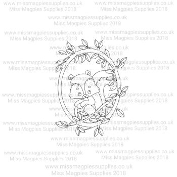 DS111 - MMS DESIGN STAMP - SQUIRREL IN PLAIN LEAF BORDER (HALF) - PLEASE SELECT SIZE