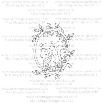 MMS DESIGN STAMP - SQUIRREL IN PLAIN LEAF BORDER (HALF) - PLEASE SELECT SIZE