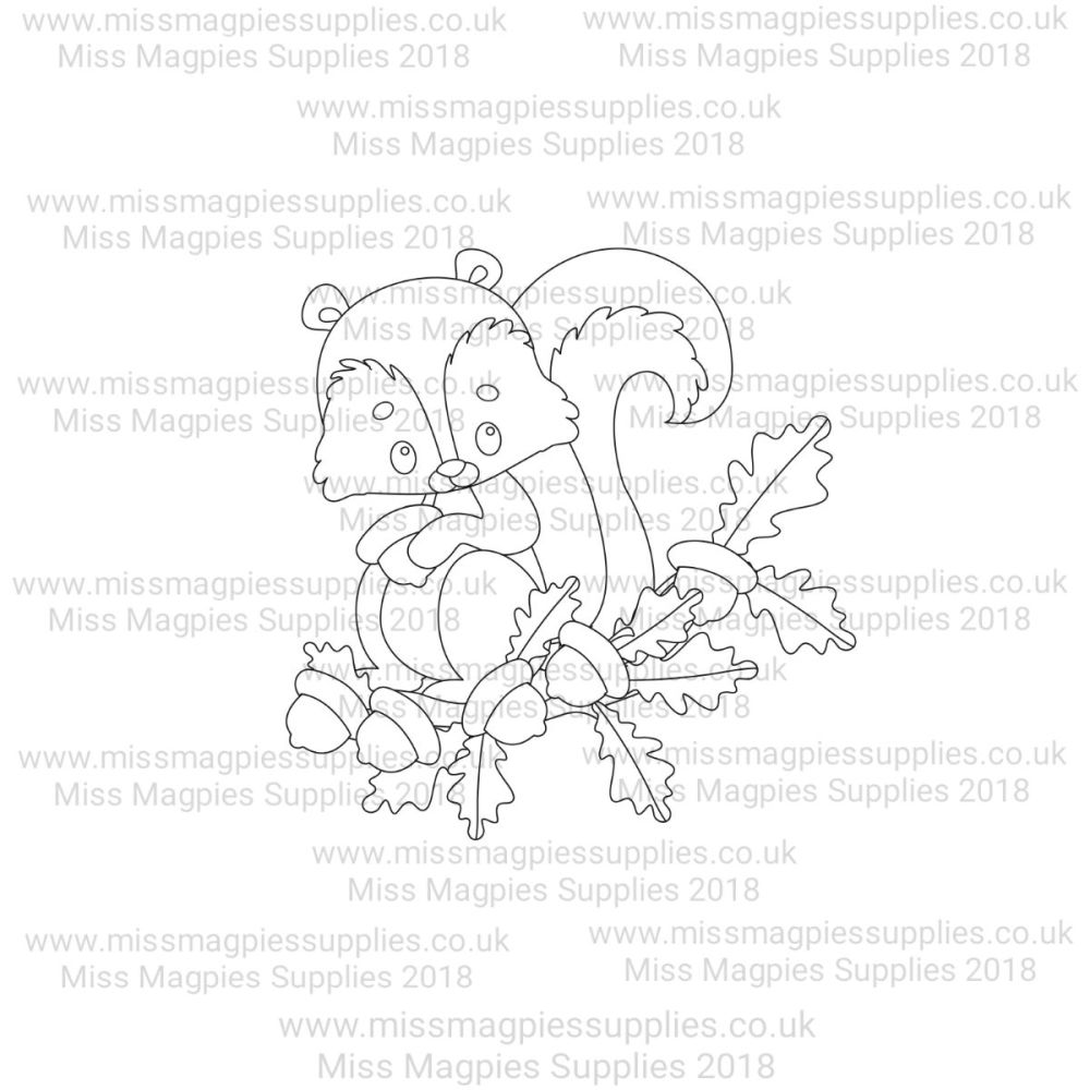 MMS DESIGN STAMP - SQUIRREL ON OAK TREE BRANCH - PLEASE SELECT SIZE
