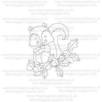 DS112 - MMS DESIGN STAMP - SQUIRREL ON OAK TREE BRANCH - PLEASE SELECT SIZE
