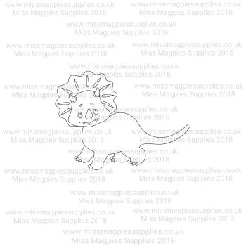 DS073 - MMS DESIGN STAMP - BABY TRICERATOPS (WALKING) - PLEASE SELECT SIZE