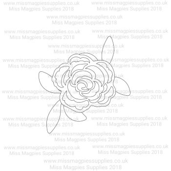 DS108 - MMS DESIGN STAMP - ROSE WITH LEAVES FLOWER -  PLEASE SELECT SIZE
