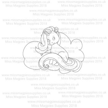 DS121 - MMS DESIGN STAMP - UNICORN AND CLOUD (SITTING STYLE 2) - PLEASE SELECT SIZE