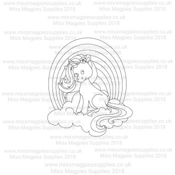 DS125 - MMS DESIGN STAMP - UNICORN WITH RAINBOW - PLEASE SELECT SIZE