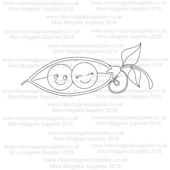 DS116 - MMS DESIGN STAMP - TWO PEAS IN A ENCLOSED POD - PLEASE SELECT SIZE