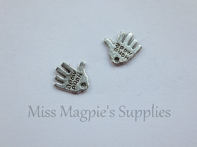 SILVER TONE - ' HAND MADE ' HANDS - PACK OF 20